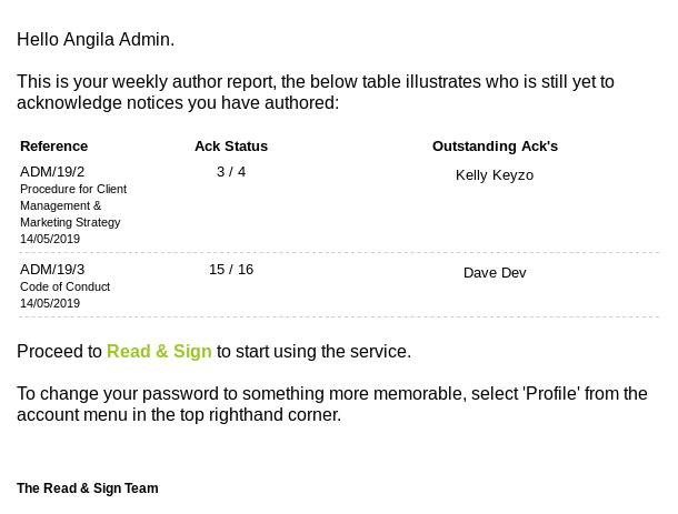read&sign Author report
